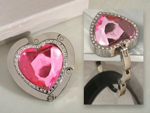 Pink Crystal Heart Handbag Holder Party Favor image