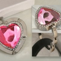 Pink Crystal Heart Handbag Holder Party Favor