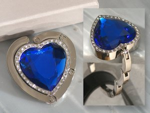 Blue Crystal Heart Handbag Holder image