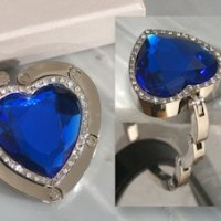 Blue Crystal Heart Handbag Holder
