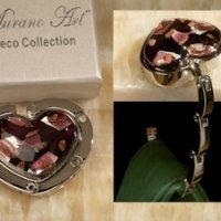 Art Deco Rich Colors Heart Hand Bag Holder Favors