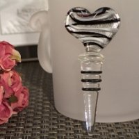 Murano Design Silver & Black Heart Bottle Stopper Favors