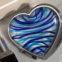Heart Shaped Compact Mirror Party Favors - Silver & Blue
