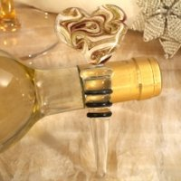 Art Deco Natural Heart Glass Bottle Stopper Favors