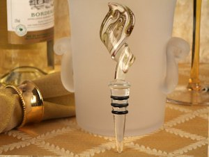 Art Deco Gold Swirl Design Glass Bottle Stopper Favors image