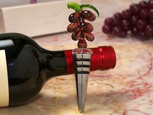 Art Deco Glass Grape Design Wine Stopper image