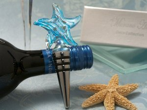 Blue and Silver Glass Starfish Wine Stopper Favors image