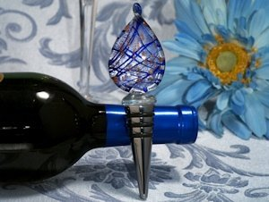 Blue Teardrop Murano Glass Wine Stopper Favor image