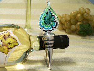 Bottle Stopper Murano Glass Wedding Favors - Teal Teardrop image