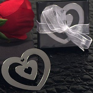 Double Heart Shaped Chrome Metal Bookmark image