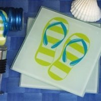 Murano Flip flop Design Coaster and Bottle Stopper Set