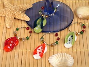 Murano Flip Flop Design Wine Charms Set image