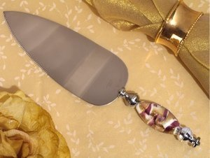 Murano Art Deco Lavender and Gold Swirl Cake Server image