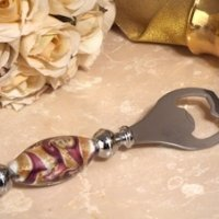 Murano Art Deco Lavender and Gold Swirl Bottle Opener