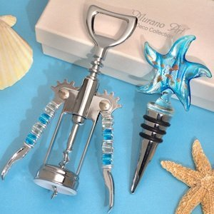 Starfish Teal and Gold Bottle Stopper and Opener Set image