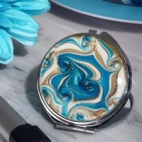 Stunning Murano Teal and Gold Swirl Compact Mirror