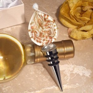 Stunning Murano Gold and White Bottle Stopper image