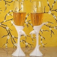 Dazzling Calla Lily Wedding Toasting Flutes