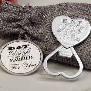 Eat Drink Be Married Chrome Bottle Opener image