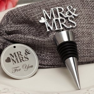 Silver Elegance Mr and Mrs Bottle Stopper image