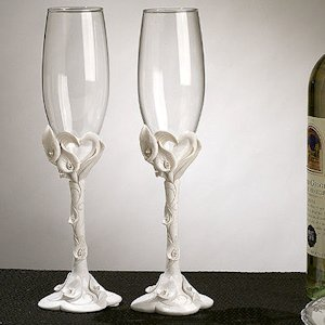 Crystal Calla Lily Toasting Flutes image
