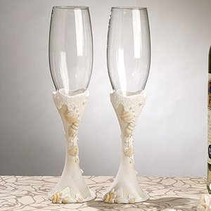 Beach Themed Toasting Flutes image