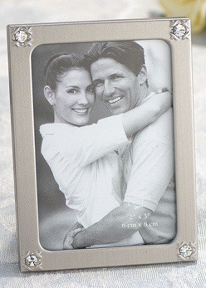 Silver Metal Photo Frame w/ Corner Crystals image