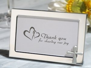 Cross Accented Metal Photo Frame Favors image