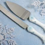 Blue Snowflake Cake Server Set