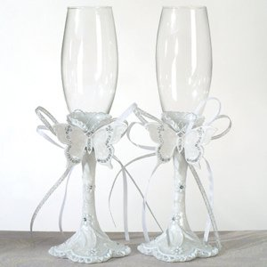Elegant Butterfly Toasting Flutes image