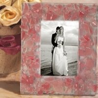 Pink Pebble Design Art Deco Photo Frame Favors