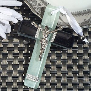 Black and White Glass Murano Style Keepsake Cross image