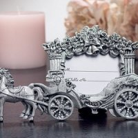 Wedding Coach Pewter Finish Place Card Frame