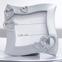Square Silver Hearts Place Card Frame