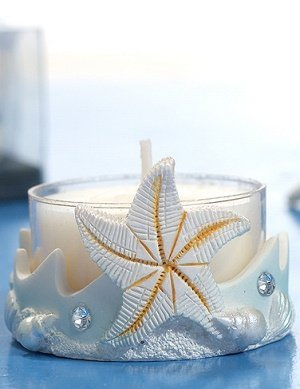 Blue Colored Starfish Candle Holder image