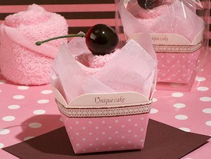 Cherry Topped Pink Cupcake Towel Favor image