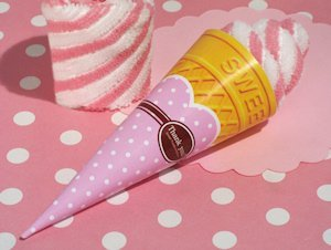 Strawberry Swirl Ice Cream Cone Towel Favor image