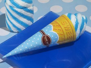 Blueberry Swirl Ice Cream Cone Towel Favor image