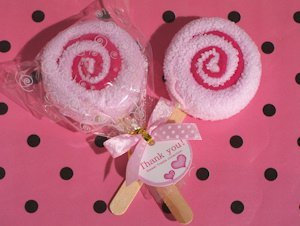 Sweet Treats Pink Lollipop Towel Favor image