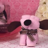 Adorable Pink Puppy Dog Towel Favor