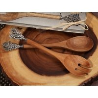 Chrome Grapes Handle Rustic Bamboo Salad Server Favors