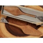 Chrome Grapes Handle Rustic Bamboo Cake Server Favors