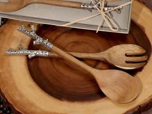 Rustic Chrome Branch Bamboo Salad Server Set image