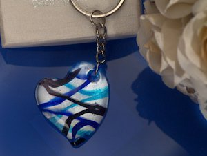 Art Deco Silver and Blue Heart Keychain Favors image