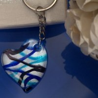 Art Deco Silver and Blue Heart Keychain Favors