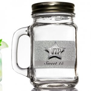 Silver Sweet 15 Design Mason Jar Favor image