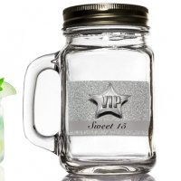 Silver Sweet 15 Design Mason Jar Favor