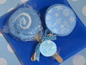 Blue Seashell Designed Lollipop Towel Favor image