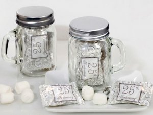 25th Anniversary Mint Candy Favors with Mason Jar image