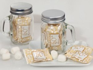 50th Anniversary Mint Candy Favors with Mason Jar image